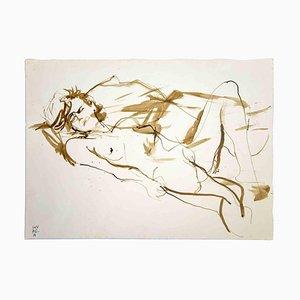 Leo Guida, Reclined Nude, Original Watercolor on Paper, 1970s