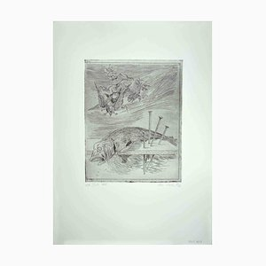 Leo Guida, Fish and Birds, Original Etching, 1972