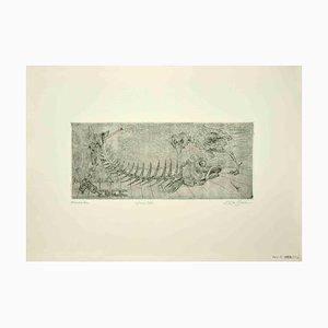 Leo Guida, Fishbone, Original Etching, 1972