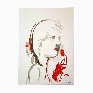 Leo Guida, Portrait de Femme, Dessin Original à l'Aquarelle, 1970s