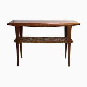 Mid-Century Scandinavian Modern Wood & Rattan Coffee Table, Sweden, 1950s