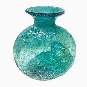 Grand Vase Vintage en Verre de Murano Jaune avec Feuille d'Argent, Italie, 2004