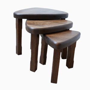 Mid-Century Oak Nesting Tables in the Style of Pierre Chapo, Set of 3