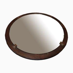 Mid-Century Round Mirror in Teak Wood Frame