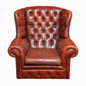 Burgundy Leather Chesterfield Wingback Armchair