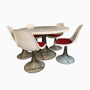 Swiss Table and 5 Chairs from Stella Werke AG Bassecourt, 1960s, Set of 6
