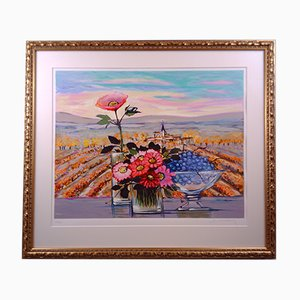 Michel Henry, Bouquet et grappes de raisins devant les champs, Lithograph