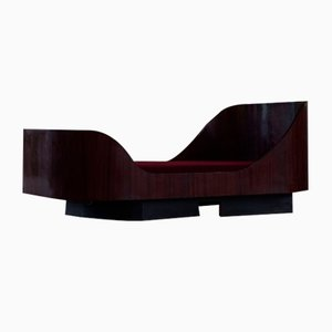 Scandinavian Art Deco Sculptural Bed or Daybed in Mahogany, 1940s
