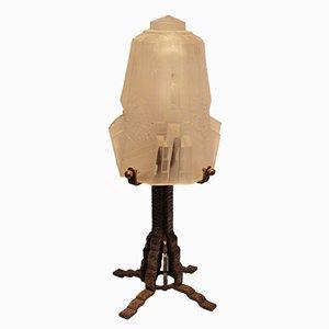 Lámpara de mesa francesa Art Déco vintage de Muller Frères Lunéville