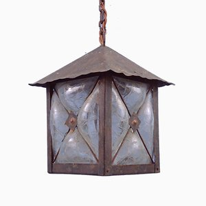 Mid-Century Handblown and Caged Glass Hallway Lantern