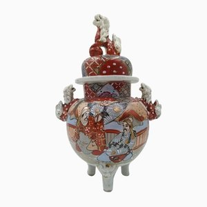 Antique Satsuma Incense Burner with 3 Feet and 3 Foo Lions