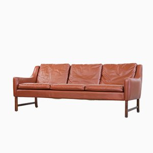 Scandinavian Leather Sofa by Fredrik Kayser for Vatne, 1960s