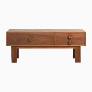 Low Teak Cabinet with Three Drawers and Leather Finish