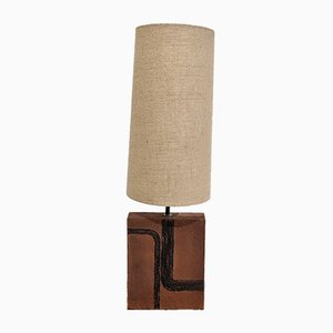 Terracotta Lamp and Linen Lampshade