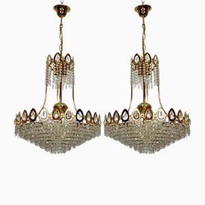 Gilt and Crystal Chandeliers from Sciolari, 1970s, Set of 2