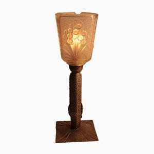Lámpara de mesa francesa Art Déco de hierro forjado
