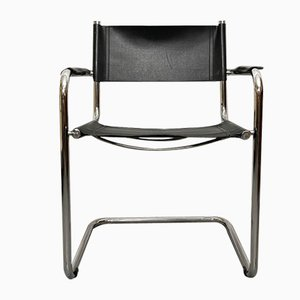 Italian Metal and Leather Armchair, 1990s