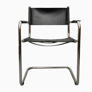 Italienischer Sessel aus Metall & Leder, 1990er