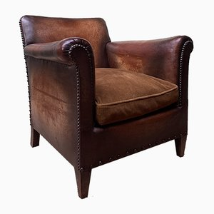 French Leather Normandie Square-Back Club Chair, 1920s