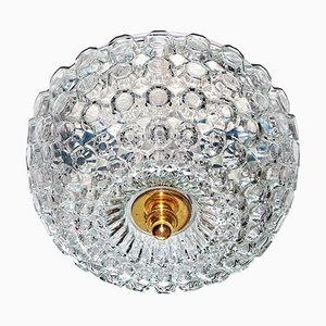 Mid-Century Round Ceiling or Wall Lamp in Textured Glass from Limburg, Germany, 1970s
