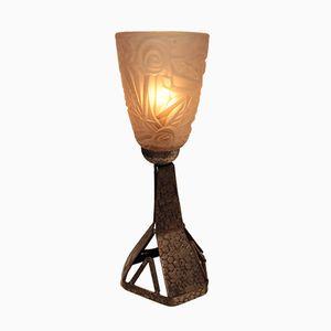 Französische Schmiedeeiserne Art Deco Tischlampe