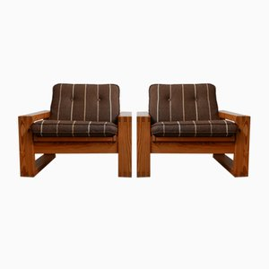 Mid-Century Swedish Pine Armchairs by Yngve Ekstrom, Set of 2