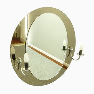 Round Art Deco Wall Mirror with Lighting, 1960s