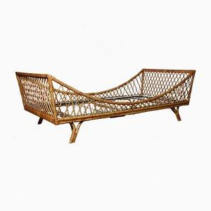 Italienisches Vintage Vintage Bett aus Bambus & Korbgeflecht, 1960er