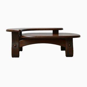 Mid-Century Belgian Brutalist Wooden Coffee Table
