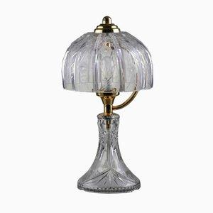 Lámpara de mesa Mid-Century de cristal grabado y latón, años 60