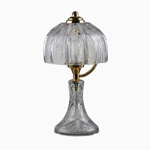 Mid-Century Table Lamp in Engraved Crystal Glass & Brass, 1960s