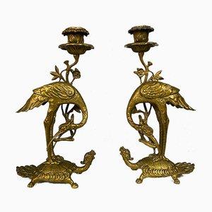 Chinesische Goldene Bronze Kerzenständer, 2er Set