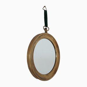 Mid-Century Italian Round Brass Mirror