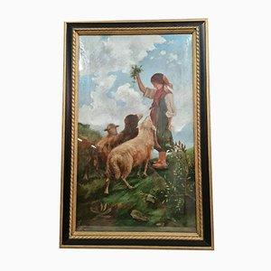 Maria Letizia, Large Painting, Neapolitan School, 1909, Oil on Canvas