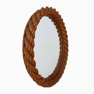 Mid-Century Round Rope Mirror Attributed to Audoux & Minet