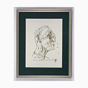 Horst Janssen, Hermann Hesse pour son 85e anniversaire, Signé à la Main et Encadré
