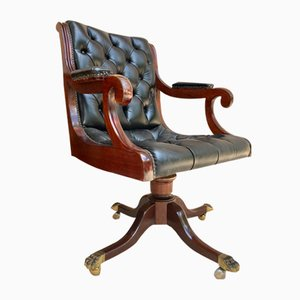 Spanish Black Leather Armchair in Mahogany with Wheels, 1930s