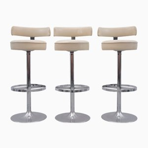 Bar Stools with Chromed Bases, Set of 3