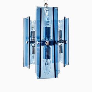 Mid-Century Modern Deckenlampe aus blauem Glas von Fontana Arte, Italien, 1960er