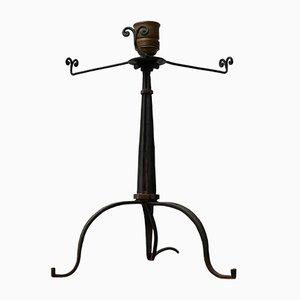 Small Mid-Century Brutalist Iron Table Lamp