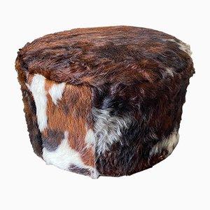 Vintage Cowhide Pouf or Footstool