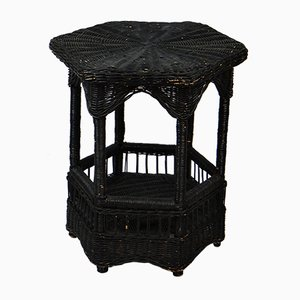 Vintage Black Lacquered Rattan Side Table