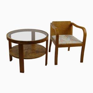 Art Deco Stuhl & Beistelltisch, 2er Set
