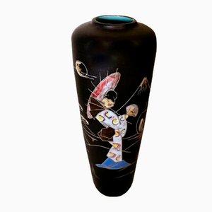 Deutsche Vintage Keramikvase mit Dekoration im japanischen Stil von Ruscha Keramik