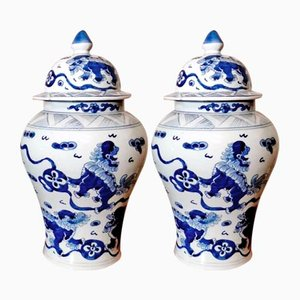 Chinese Vases with Lids and Cobalt Blue Decoration, Set of 2
