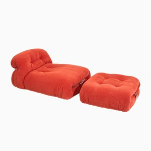 Soriana Chaise Lounge with Ottoman in Red by Tobia & Afra Scarpa for Cassina, Set of 2