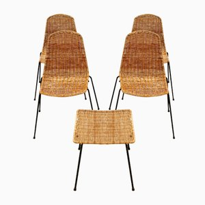 Mid-Century Wicker Chairs & Ottoman by Gian Carlo Leglers, 1950s, Set of 4