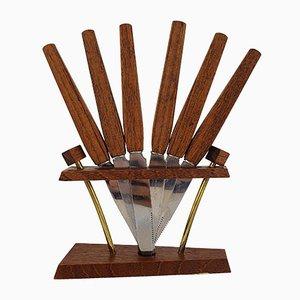 Mid-Century Teak Obstmesser Set von Rostfrei Solingen, 1960er