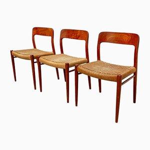 Sedia da pranzo nr. 75 in teak di Niels Møller per JL Møllers Møbelfabrik, Danimarca