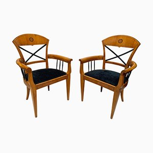 Neoclassical Style Cherry Wood and Ebony Armchairs, Austria, 1900s, Set of 2